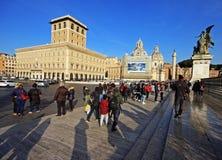 Groep toeristen in Rome, Italië Stock Afbeeldingen