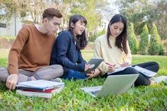 Groep Universitaire Studenten Aziatische zitting op het groene gras die en buiten in een park samenwerken lezen royalty-vrije stock foto