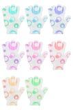 Groep van acht de sponshandschoenen van het handbad met diverse kleuren circl Stock Foto