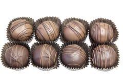 Groep van Acht Truffels van de Chocolade Stock Afbeeldingen