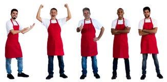 Groep van 5 Afrikaanse en Kaukasische en Latijns-Amerikaanse kelners royalty-vrije stock afbeelding