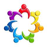 Groep van 7 mensen-ontmoet in cirkel Royalty-vrije Stock Foto