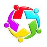 Groep van mensen-ster 5 in cirkel Royalty-vrije Stock Afbeeldingen