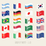 Groep van twintig - G20 - reeks van het vlagpictogram Royalty-vrije Stock Afbeeldingen
