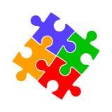 Groep van vier kleurenraadsel, samenwerking - vector vector illustratie