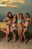 Groep van vier modellen die bikinis dragen die bij zonsondergangstrand stellen stock foto