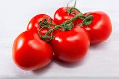 Groep van vijf verse, rijpe rode die tomaten, nog door de groene stam worden verbonden royalty-vrije stock fotografie