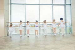 Groep van zeven kleine ballerina's die zich in rij en het praktizeren ballet bevinden die stok op de muur gebruiken stock afbeeldingen