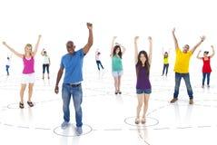 Groep Verbonden Succesvolle Jongeren stock foto's