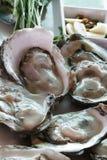Groep verfraaide ruwe verse vreedzame grote Oesters/Dicht omhooggaand geleidier bij zeevruchtenrestaurant, ongekookte voedsel unp royalty-vrije stock fotografie