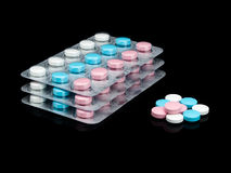 Groep verpakking met pillen. Stock Afbeeldingen