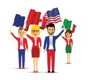 Groep vlag golvende mensen vector illustratie