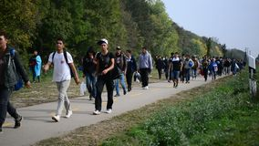 Groep vluchtelingen die Hongarije verlaten stock videobeelden