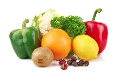 Groep voedingsmiddelenhoogtepunt van vitamine C stock fotografie