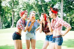 Groep vrienden bij park die pretpartij hebben Vrolijke meisjes met cakes in handen Retro stijl royalty-vrije stock foto
