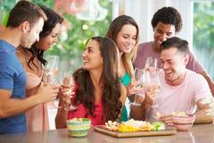 Groep Vrienden die Dranken van Partij thuis genieten stock fotografie