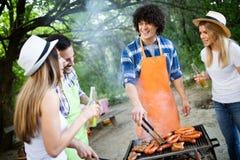 Groep vrienden die een barbecue en grillpartij in aard hebben royalty-vrije stock afbeeldingen