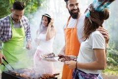 Groep vrienden die een barbecuepartij in aard hebben stock afbeelding