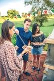 Groep vrienden die in een de zomerbarbecue koken royalty-vrije stock afbeeldingen