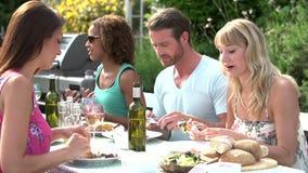 Groep Vrienden die Openluchtbarbecue hebben thuis stock videobeelden