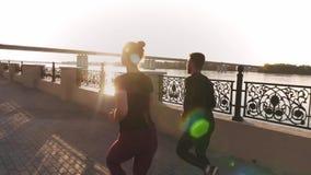 Groep vrienden die pret hebben die samen lopen langs stock video