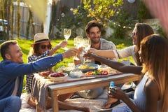 Groep Vrienden die van Openluchtpicknick in Tuin genieten Stock Foto