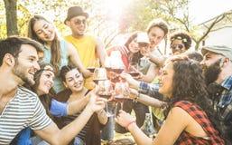 Groep vrienden die wijn roosteren die pret hebben bij de partij van de barbecuetuin