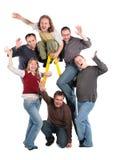 Groep vrienden op trapladder