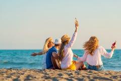 Groep vriendenspel op het strand royalty-vrije stock foto