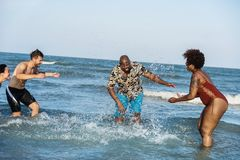 Groep vrolijke vrienden bij het strand Royalty-vrije Stock Afbeeldingen