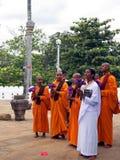 Groep Vrouwelijke Boeddhistische Monniken in Sri Lanka Stock Foto