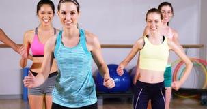 Groep vrouwen die aerobics uitvoeren stock video