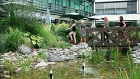 Groep vrouwen die over houten brug in mooi park lopen stock videobeelden
