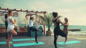 Groep vrouwen die yoga op de strand langzame motie uitoefenen stock video