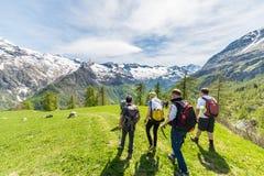 Groep wandelaars die de Alpen, openluchtactiviteiten in de zomer onderzoeken Royalty-vrije Stock Foto
