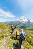 Groep wandelaars die de Alpen, openluchtactiviteiten in de zomer onderzoeken Stock Foto