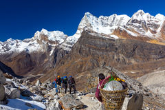 Groep Wandelaars en Nepalese Portier die vele het kamperen bagage dragen royalty-vrije stock afbeelding