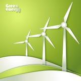 Groep Windmolenssilhouetten stock illustratie