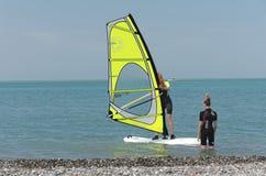 Groep Windsurfers stock fotografie