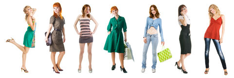 Groep winkelende meisjes Royalty-vrije Stock Foto's