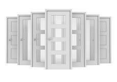 Groep witte deuren Stock Foto's