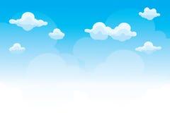 Groep wolken op blauwe hemel, achtergrond van beeldverhaalwolken vector illustratie
