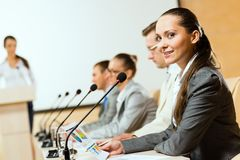 Groep zakenlieden bij de presentatie Stock Foto's