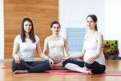 Groep zwangere vrouwen belast met yoga stock fotografie