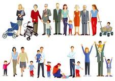 Groepen families royalty-vrije illustratie