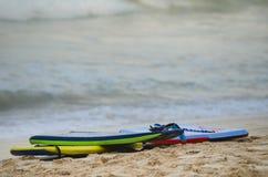 Groepering van 3 boogieraad op het strand in Hawaï royalty-vrije stock afbeelding