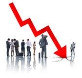 Groeps Bedrijfsmensen op Economisch Crisisconcept Stock Foto's
