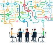 Groeps commerciële team werkende vergadering stock illustratie