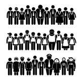 Groeps Mensen Arbeider van Verschillend Beroep Cliparts Stock Fotografie
