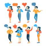 Groeps mensen bespreking op de mobiele telefoon vector illustratie